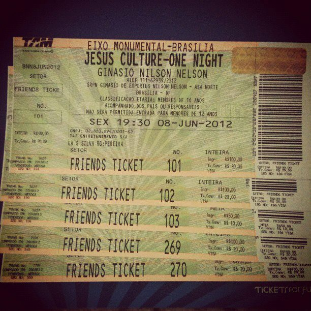Ingresso para o show do Jesus Culture (foto: Facebook)